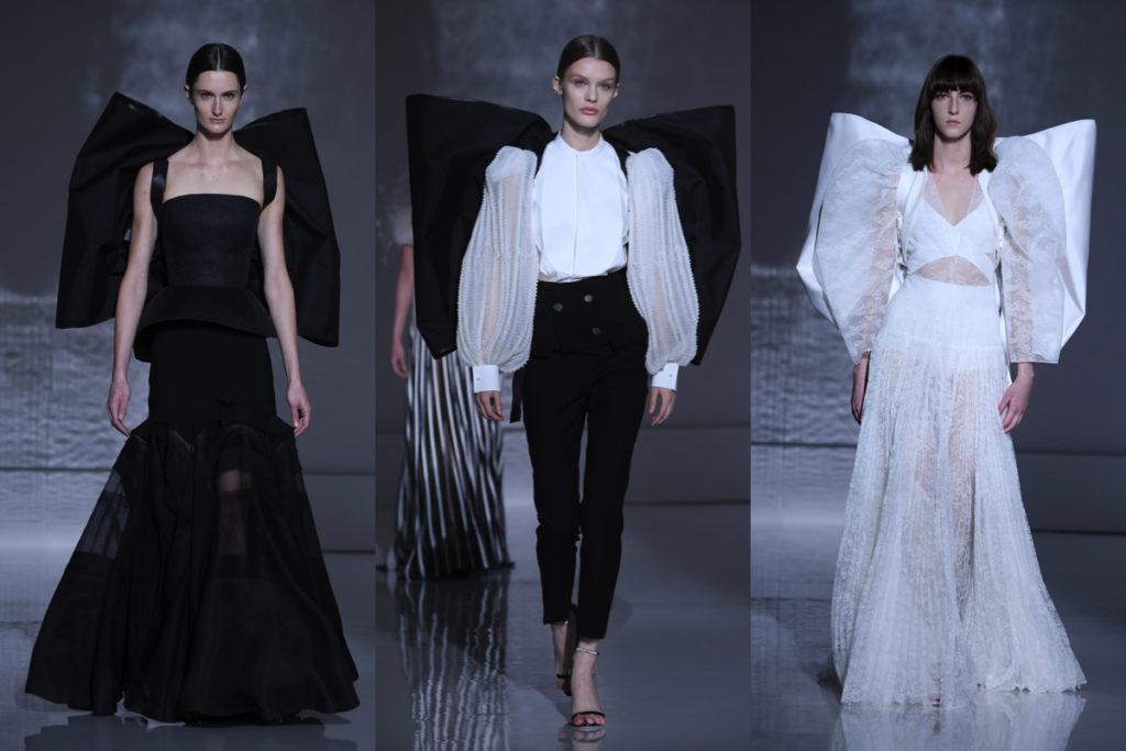 Tre ouifit in bianco e nero di Givenchy