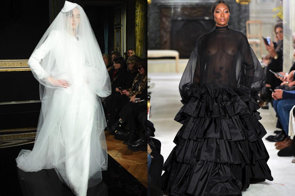 Sposa in bianco di Armani e Naomi Campbell in nero da Valentino