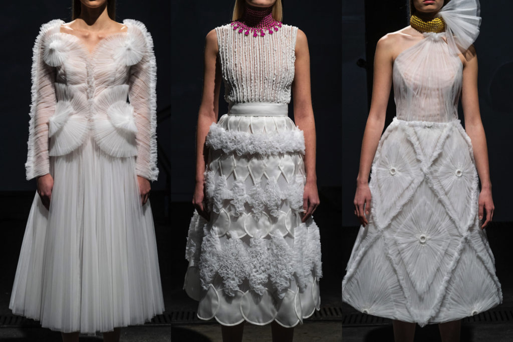 Tre abiti della collezione Vertigo di Sylvio Giardina