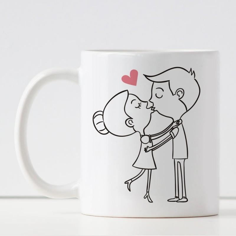 Tazza in ceramica con innamorati e frase a scelta