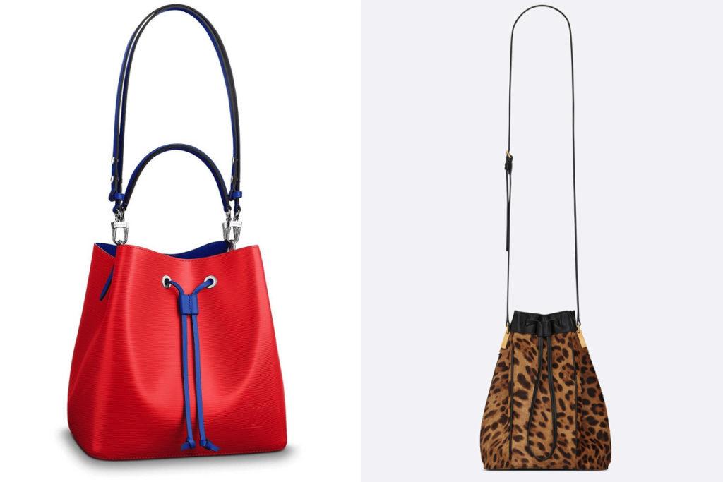 Due modelli di borse a secchiello della Primavera-Estate 2019
