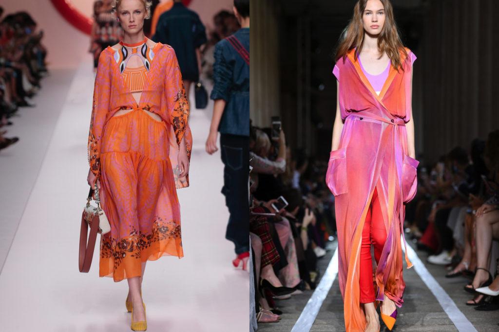 Arancione e rosa, come da Fendi e Blumarine