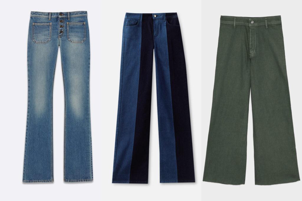 Tre paia di jeans flare