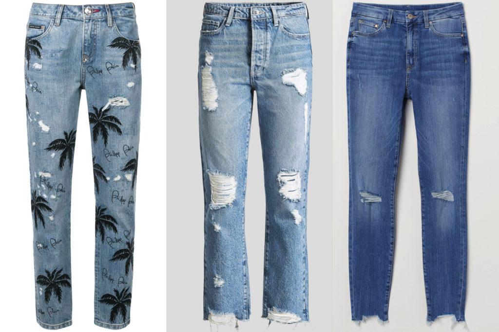 Tre paia di jeans strappati