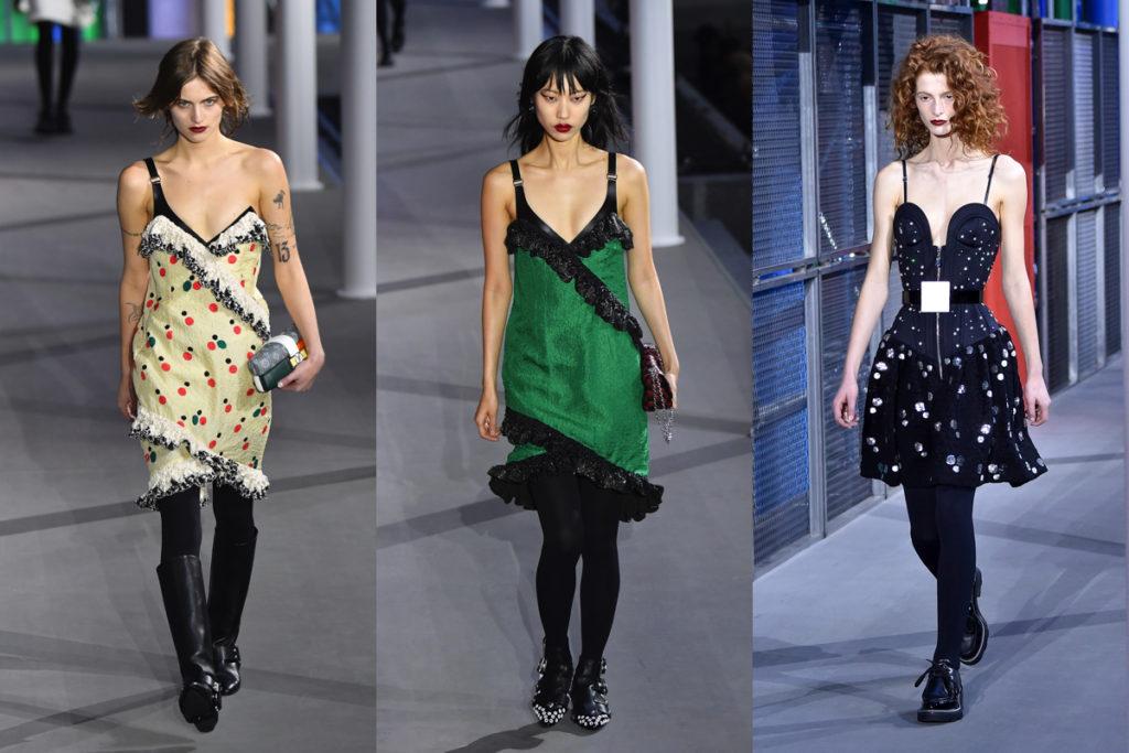 Tre uscite della sfilata Louis Vuitton