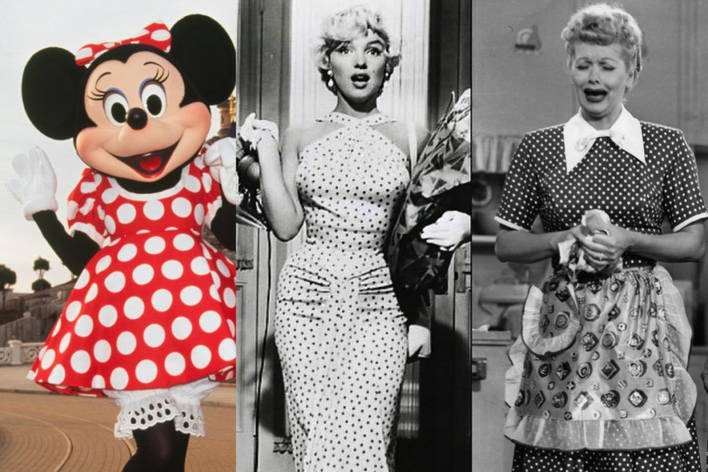 Minnie, Marilyn Monroe e Lucille Ball con vestiti a pois