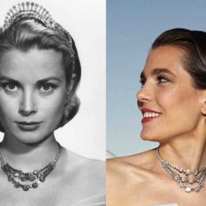 Charlotte Casiraghi con la collana di Grace Kelly