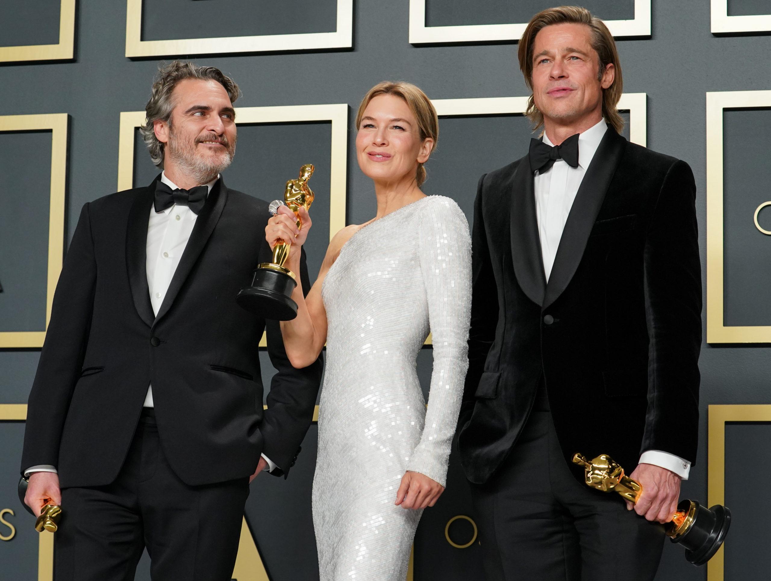 Joaquin Phoenix, Renée Zellweger e Brad Pitt, con gli Oscar 2020 insieme sul red carpet