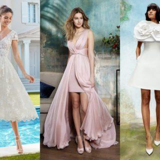 Abiti da sposa corti: colorati, eleganti e sorprendenti