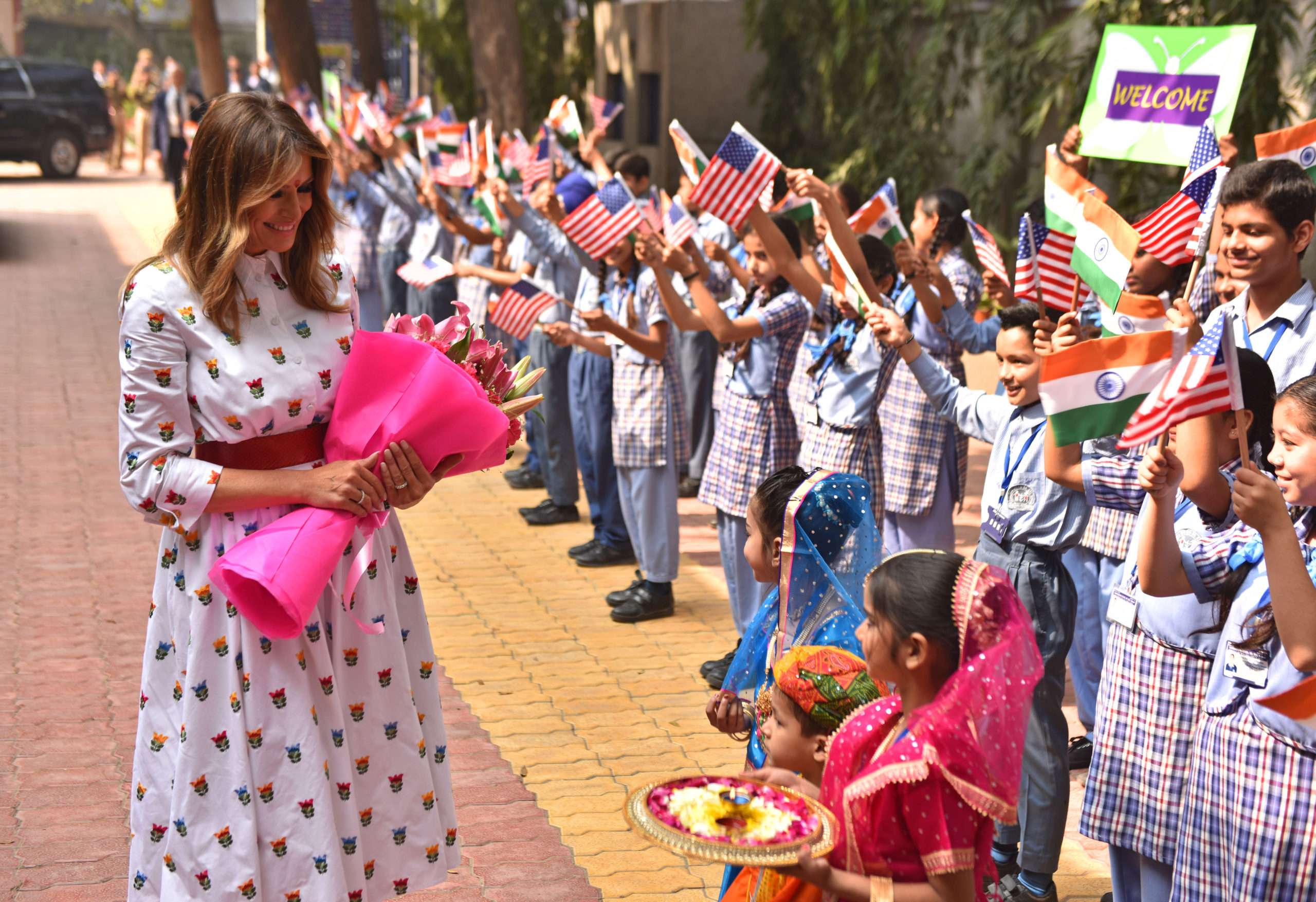 Melania Trump in India tra moda e bambini