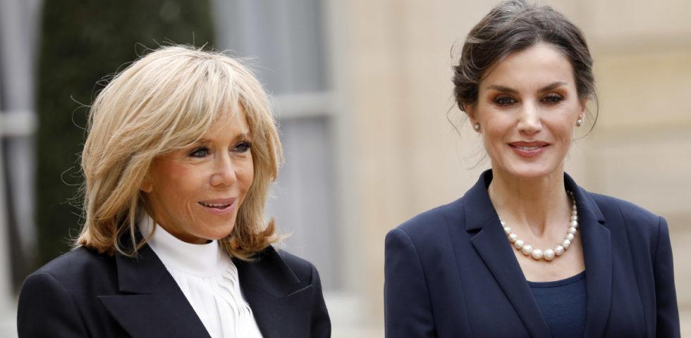 Letizia Ortiz: il look per l'incontro in Francia con Brigitte Macron