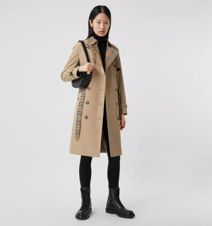 Trench coat in gabardine di cotone con pannelli Vintage check (Burberry)