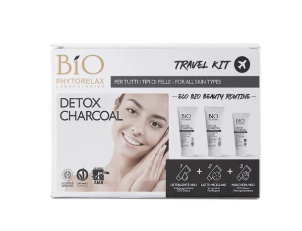 Biophytorelax Travel Kit Carbone Detergente Viso + Latte Micellare + Maschera Viso Sos Detox