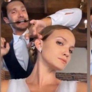 Stefano De Martino e Fiammetta Cicogna sposi sul set