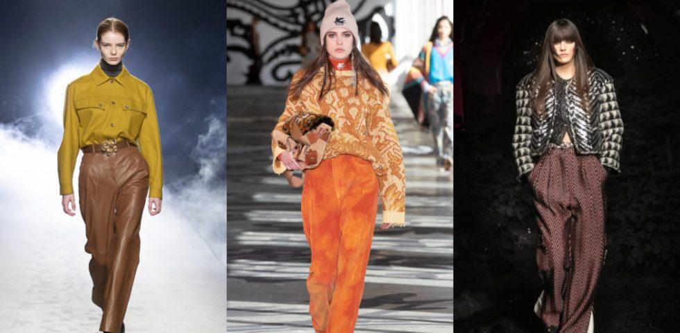 Pantaloni, le tendenze dell'Autunno-Inverno 2021/2022: in pelle, velluto e a vita alta