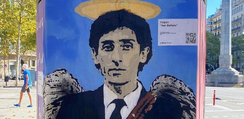 A Barcellona un murales dedicato a Franco Battiato, merito di Tvboy