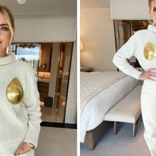 Chiara Ferragni, tutto sul suo maglione con le coppe d'oro sul seno